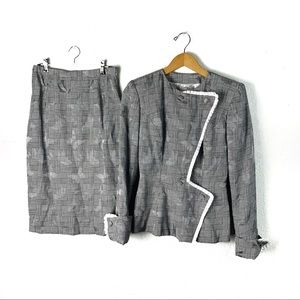 Vintage 1980s couture custom skirt suit set S